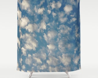 "POPCORN CLOUDS   Shower Curtain   71"" BY 74""   Photo-Bath-Bathroom-Home Decor-Curtain"