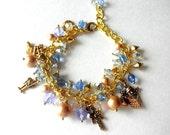 Victorian Charm Bracelet,Christmas Bracelet,Victorian Jewelry,Edwardian, Charm Bracelet Cluster