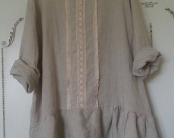 Eco linen shabby chic rustic  tunic dress with laces size XL