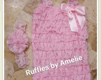 Lace Petti Romper & Lace Headband in Pink - Baby Lace rompers - 31 COLORS - Size NB to 12M. Ready to Ship.