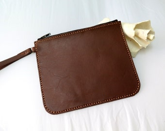Leather clutch,vegetable tanned leather phone clutch,phone leather wallet,vegetable tanned leather bag (Dark drown Leather)