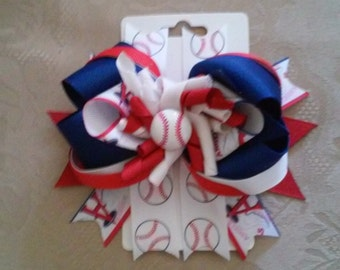 Angels baseball hair bow