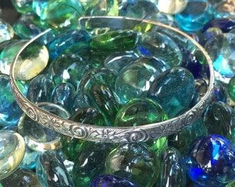 Daisy Scroll Sterling Silver Cuff Bracelet