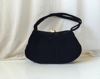 Vintage 1950s Black Velvet Purse // small mid century black velvet handbag