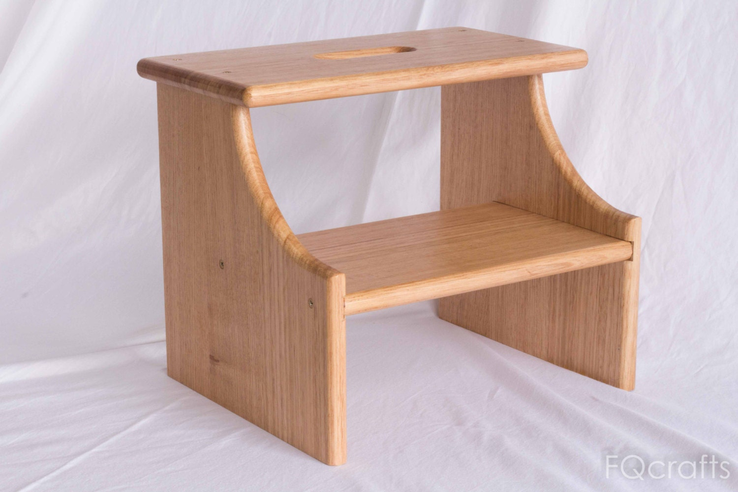 Wooden Step Stool Two Step Hardwood By Fqcrafts On Etsy