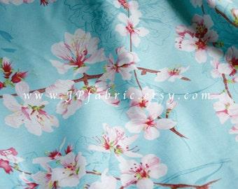 Cherry Blossom. Sakura Fabric. Japanese Flowers. Cotton Fabric. Mint Print Fabric. fleur cerisier. JP100065
