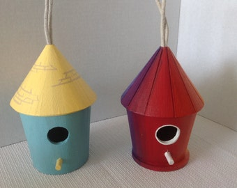 Hand painted Wooden Birdhouse, house, home, garden , patio , outside decor, inside decor