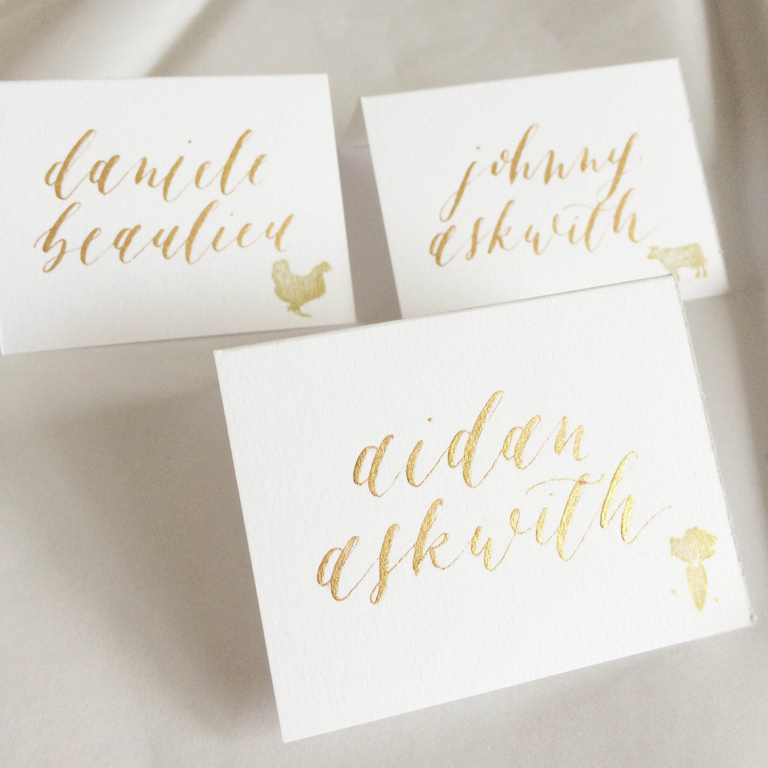 Custom calligraphy place cards name escort for