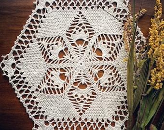 Small Crochet Doily, Handmade, Ecru, Hexagon