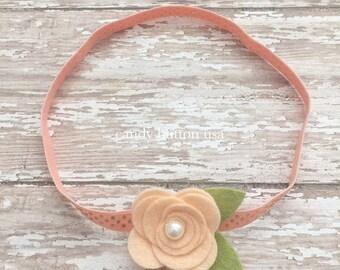 Peach Gold Headband, Flower Baby Headband, Felt Rose Headband, Newborn Photo Props, Felt Rosette Headband, Peach Rose, Single Flower Felt