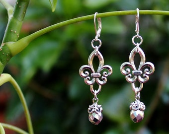 Fleur De Lis Silver Dangle Earrings.Metal plated in sterling silver.Crystal Drop.Statement.Bridal.Mother's.Holiday.Birthday.Gift. Handmade.