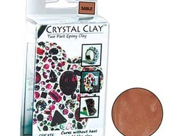 Crystal Clay Two Part Epoxy Mix 50 Grams - Sable Brown Use w/ Chatons, Rhinestones, Findings to make Art Jewelry SU29