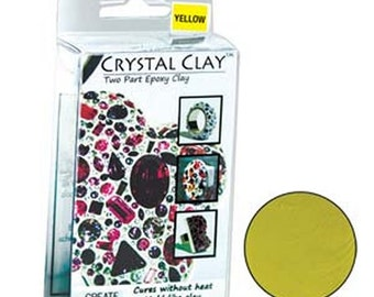 Crystal Clay Two Part Epoxy Mix 50 Grams - Primary Yellow Use w/ Chatons, Rhinestones, Findings to make Art Jewelry SU76