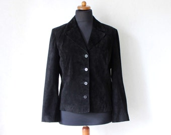 Black Suede Leather Jacket Ladies Blazer Large Size