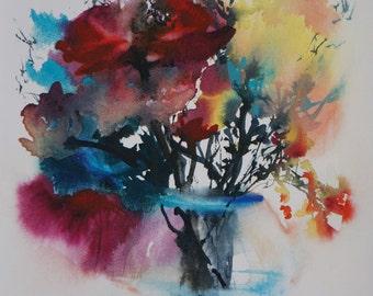 "Postcard. Reproduction Watercolour flowers ""savane"" greeting card"