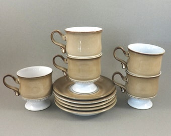 Vintage Denby Langley Seville Footed Cup and Saucer, Set of Five, Denby England, Gill Pemberton, Renaissance Collection