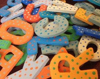 Alphabet magnetic letters; Blue & Orange ; ABC wooden magnets; Fridge magnets; Kids gifts; ABC learning; Number magnets