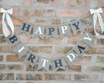 Happy Birthday Burlap Banner, birthday banner, happy birthday sign, happy birthday decor, happy birthday bunting, Happy Birthday Banner