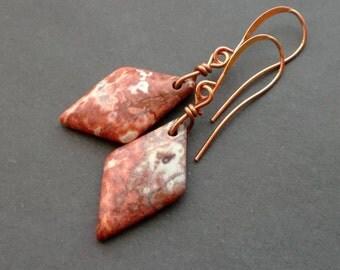 earrings JASPER CHOUHUA. Natural JASPER. earrings stones Gemstones.  copper details.