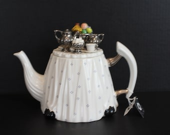 Rare, Paul Cardew Teapot, Victorian Tea Table, Signed and Dated, Large 6-8 Cups Porcelain Tea Pot, Never used, Retired (C028)