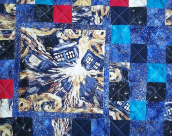 Doctor Who Inspired Quilt - Exploding TARDIS Mini Wallhanging