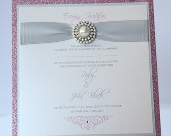 Silver & Pink Sparkle Wedding Invitation with Pearl Cluster Brooch