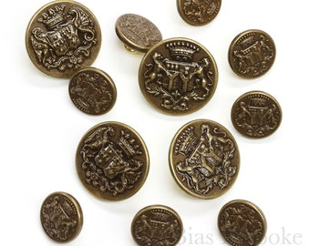 Sets of Detailed Antique Brass Coat of Arms Buttons, Made in France