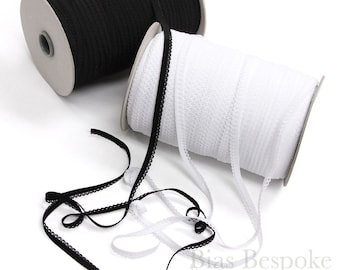 10mm Sweet Picot Lingerie Elastic in Black and White, Made in Italy