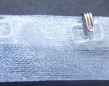 Silver hook only trim by the yard -White Organza Tape ribbon-12""