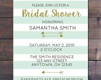 Mint Striped & Gold Bridal Shower Invitation