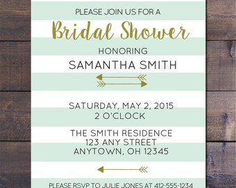 Mint Striped & Gold Bridal Shower Invitation