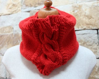 Vermillion Cable Cowl Hand Knitted