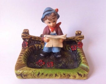 Hummel Like Ashtray / Hummel Like Figurine / Vintage Ashtray / Ceramic Ashtray / Hummel Like Boy / Ashtray /