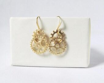 Gold Gear Earrings Cog Earrings - Steampunk Inspired Cog and Wheel Industrial Jewelry