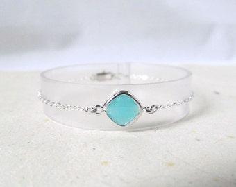 mint green bracelet,  mint and silver bracelet, mint silver  bracelet, bridesmaids gift bracelet, minimal bracelet, minimalist jewelry