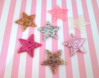 Glitter Resin Star Cabochons, Cute Bling Cabs, #674a