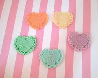 Assorted Doily Tea Party Heart Cabochons