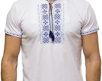 T-shirts for men in ukrainian style. Embroidery shirt.Organic cotton.