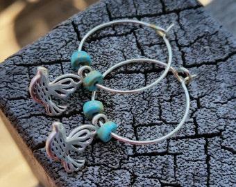 Bird/Turquoise small dangle hoops/renaissance/victorian/antique/vintage
