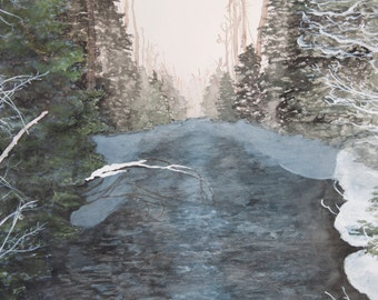 Nature Watercolor painting-snowy river watercolor-original nature watercolor