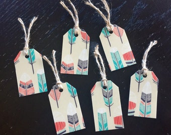Set of 6 Feather Gift Tags