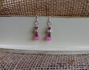 Pink Jade Sterling Silver Earrings