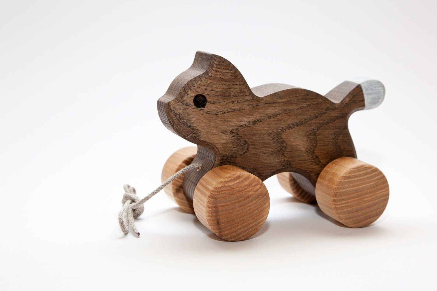 wooden toy cat pull along toy christmas gift by woodenfroglv