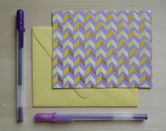 Yellow & Gold Chevrons - Blank Stationary Set of 8