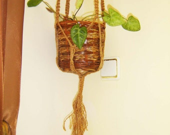 Vintage handmade Hemp Macrame, Natural Jute Macramé Plant Hanger for Home and Garden,  Plant Hanger,  Wall Hangings