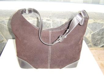Vintage Cross Body Bag, Organizer Purse, Vintage Coach eco-suede and leather Shoulder Bag, Style Purse, Cross body Messenger Bag, City Bag