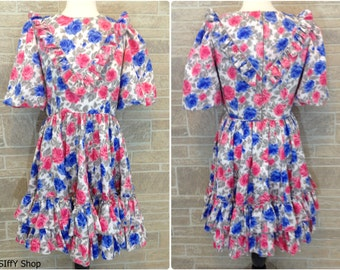 Pink, blue and gray floral square dance dress - plus