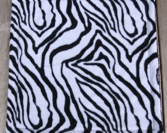 "Black and White Zebra Print Fleece ""Snuggie"", Baby Security Blanket , Baby Lovie Blanket"