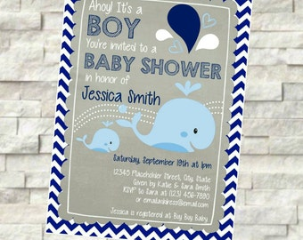 Whale Baby Shower Invite - Ahoy It's a Boy - Navy Chevron and Gray - DIY Printable File