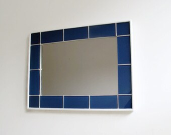 "Cobalt Blue Glass Mirror, 16"" x 12"", Bathroom Mirror, Glass Tile Mirror, Decorative Wall Mirror, Handmade Mirror, Unique one of a Kind"